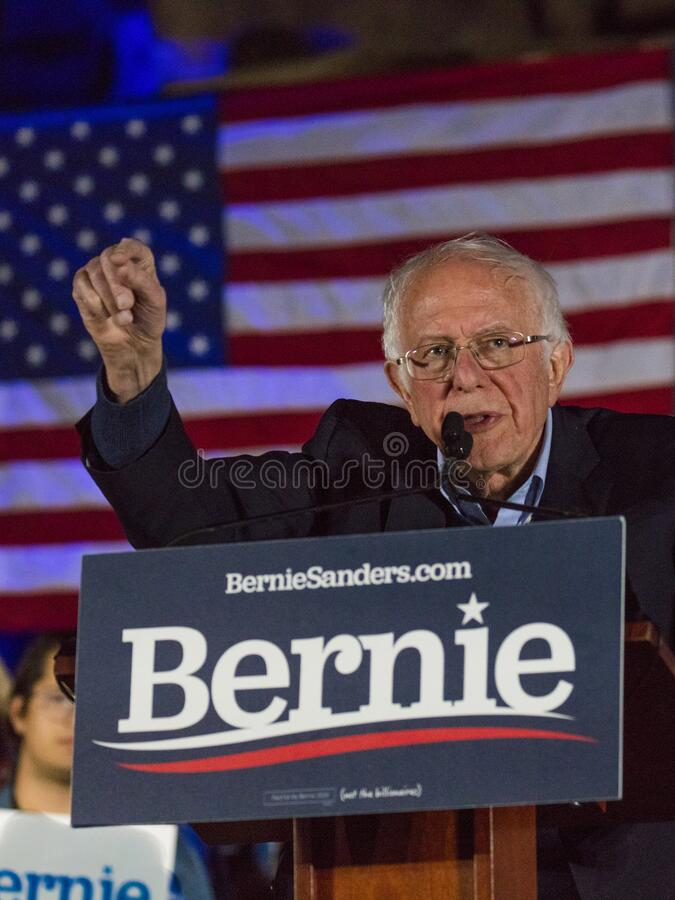 Democratic Senator Bernie Sanders speaks at Presidential Rally at Springs Preserve Ampitheater evening before Nevada Caucus, Las. FEB 21, 2020, LAS VEGAS, NEVADA stock photos