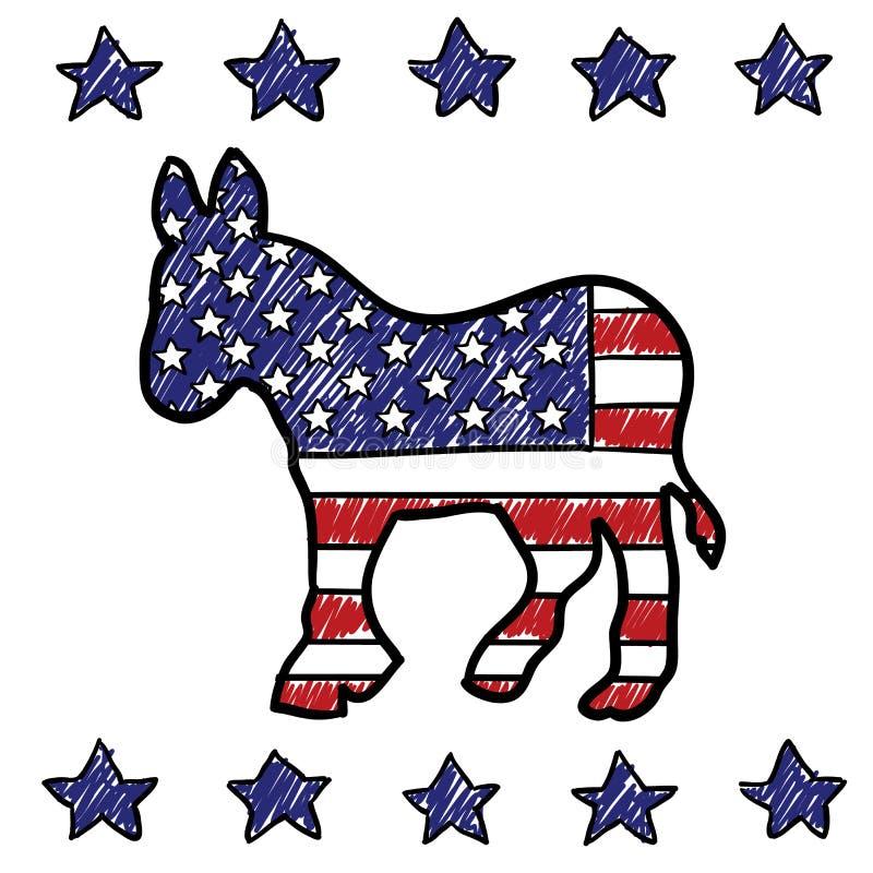 Democratische de ezelsschets van de Partij stock illustratie