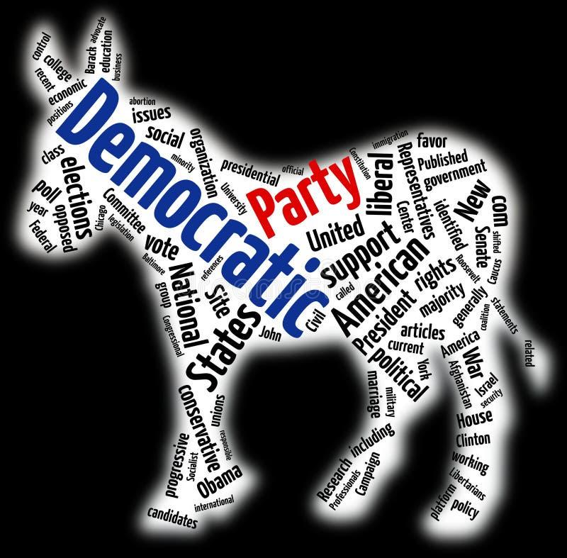 Democratische het woordwolk van de Partij vector illustratie