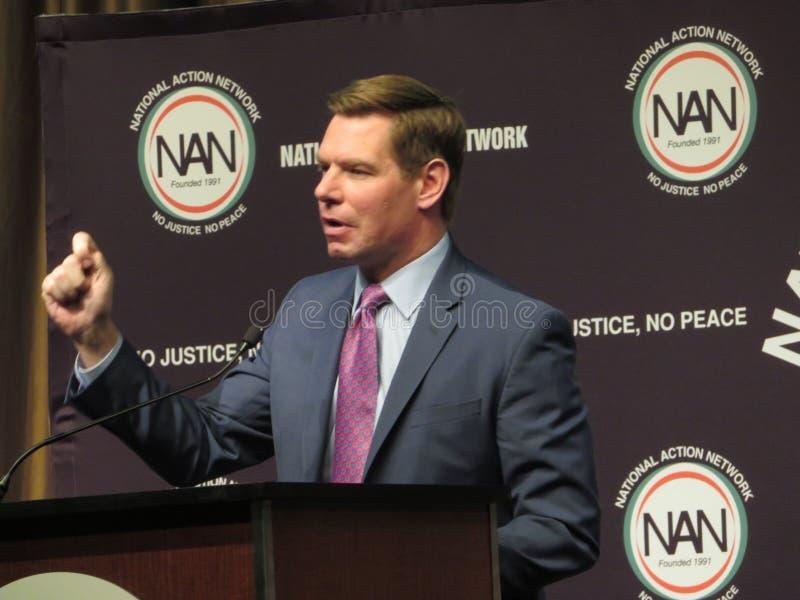 Democratische kandidaat Eric Swalwell bij Nationaal Actienetwerk royalty-vrije stock foto's
