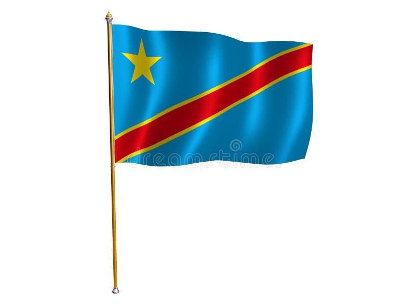 Democratische Republiek van de de zijdevlag van de Kongo royalty-vrije illustratie