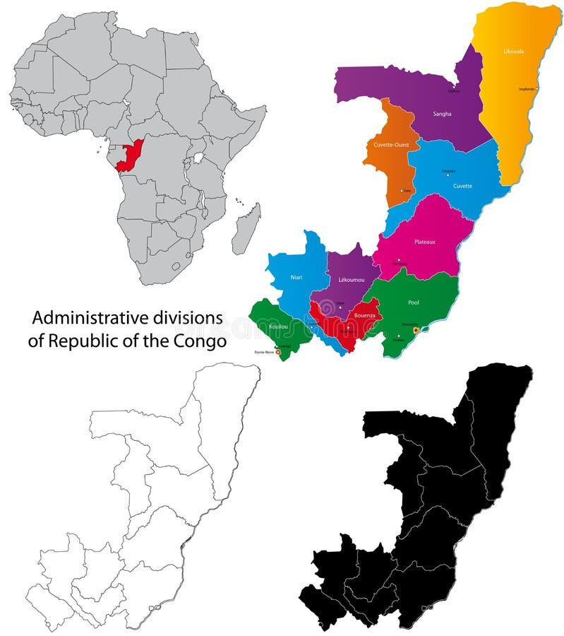 Democratische Republiek van de kaart van de Kongo vector illustratie
