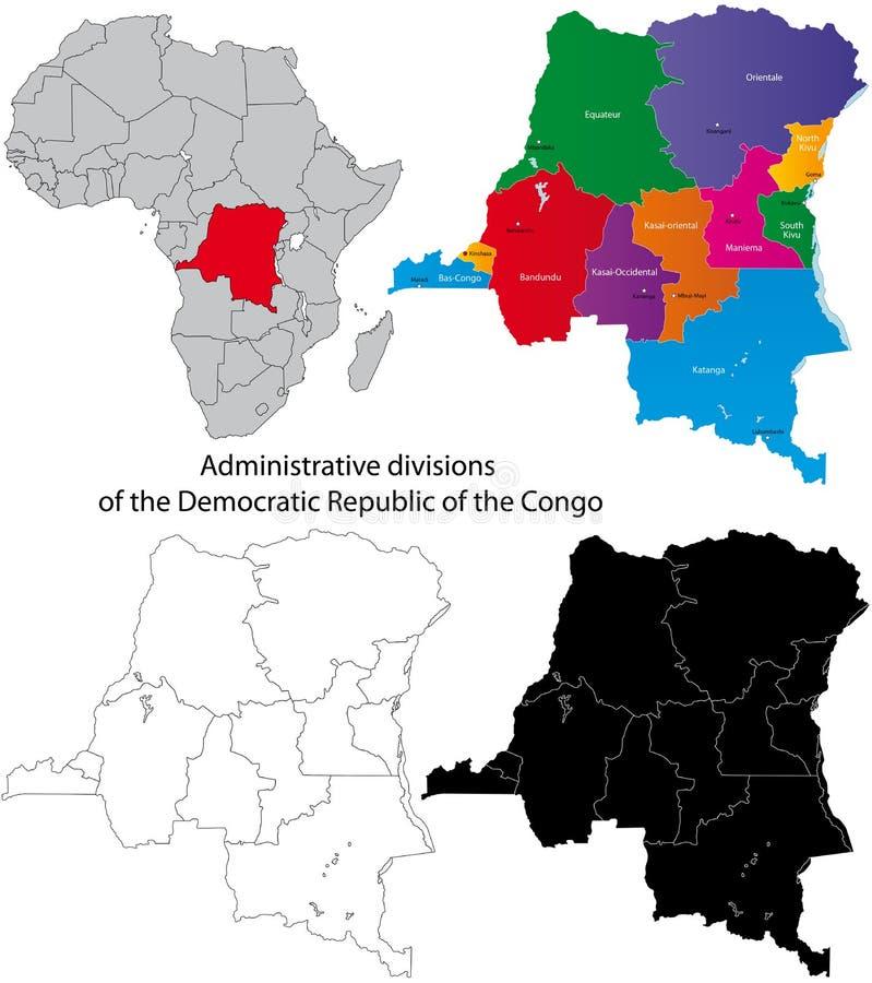 Democratische Republiek van de kaart van de Kongo