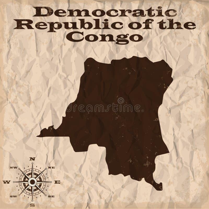 Democratische Republiek van de oude kaart van de Kongo met grunge en verfrommeld document Vector illustratie vector illustratie