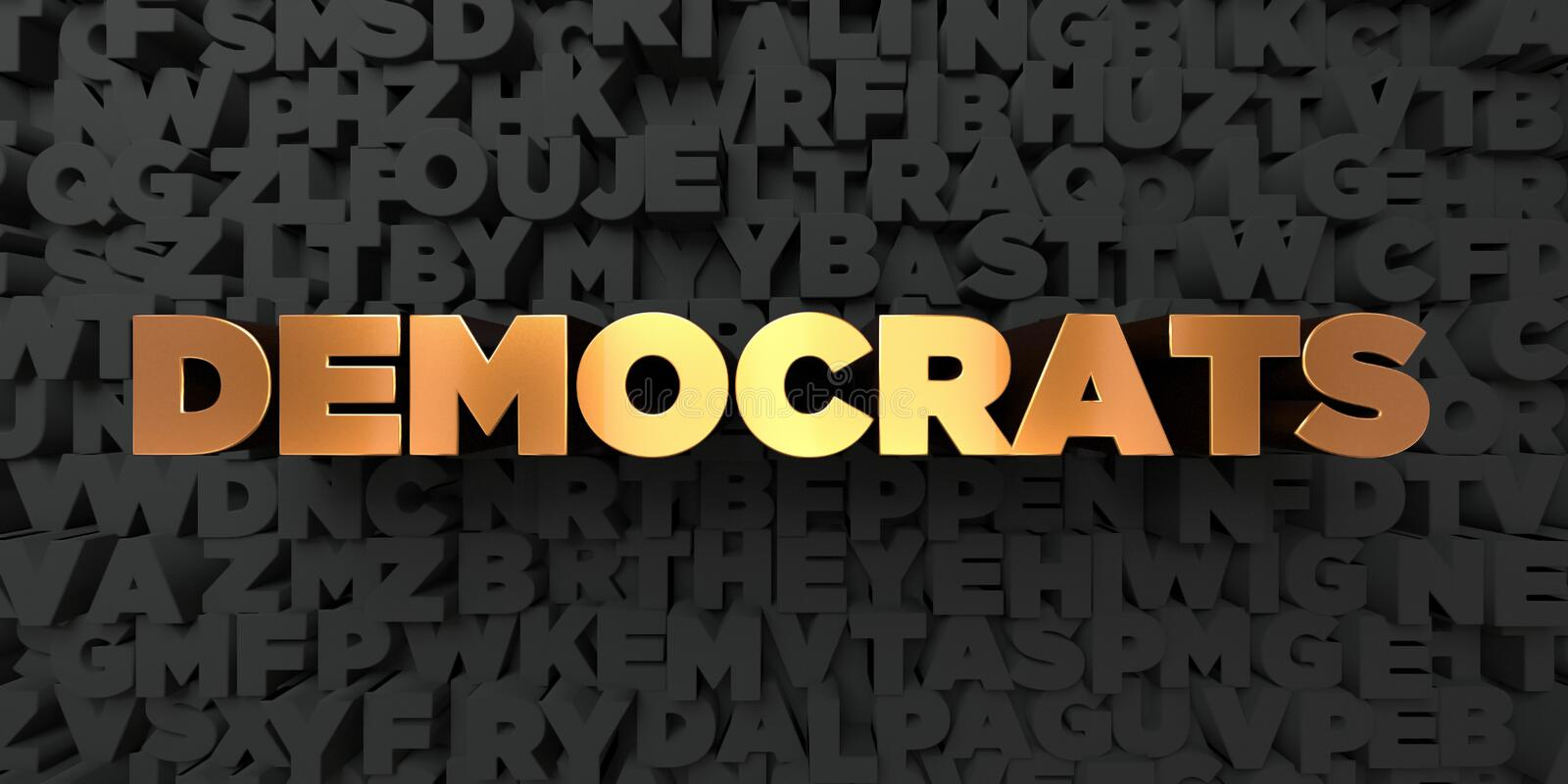 Democrats - Gold text on black background - 3D rendered royalty free stock picture. This image can be used for an online website banner ad or a print postcard stock illustration