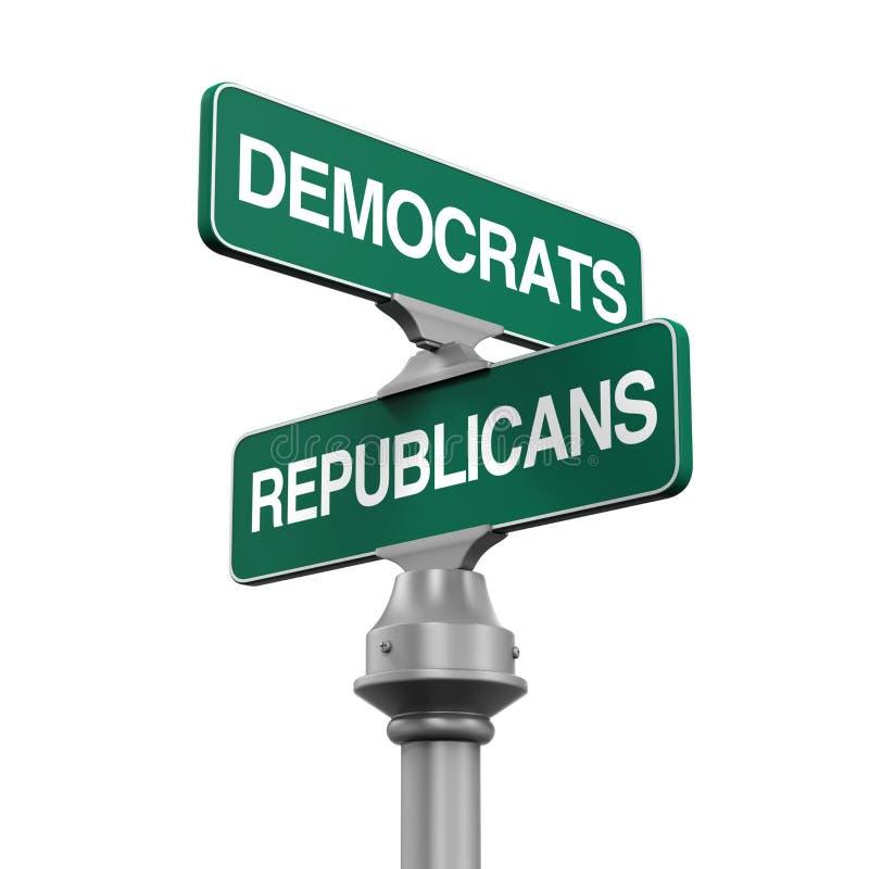 Democrats Republicans Direction Sign royalty free illustration