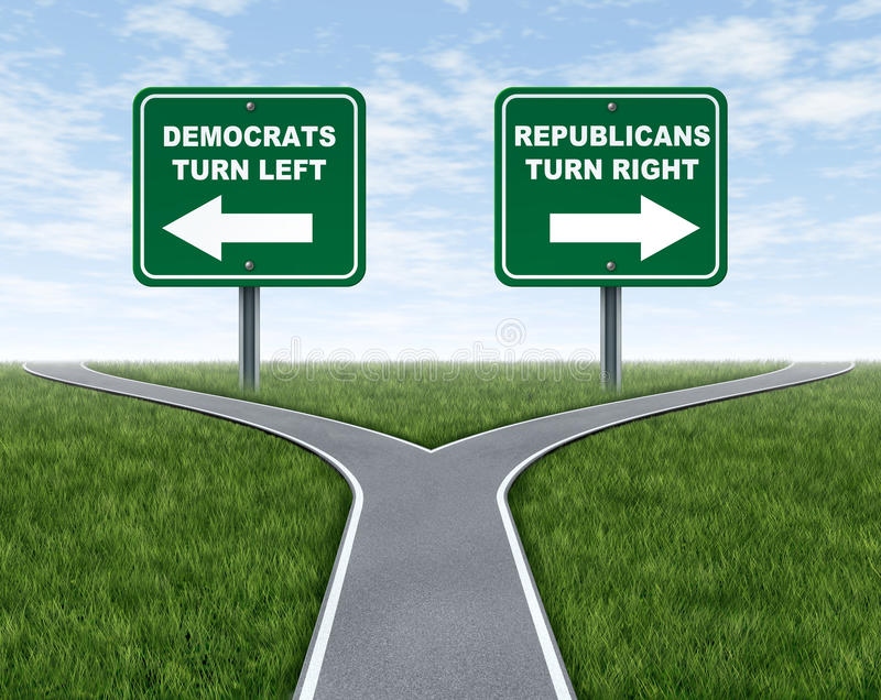 Democrats and Republicans election choices stock illustration