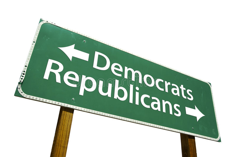 Democrats, Republicans - road-sign. stock images