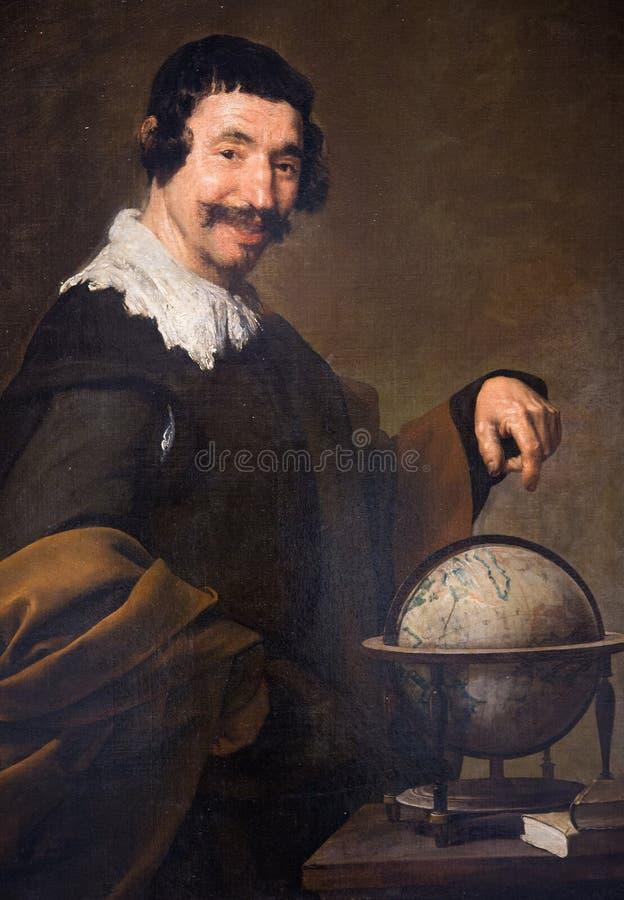 Democritus die - door Diego Velazquez schilderen (1640) stock foto's