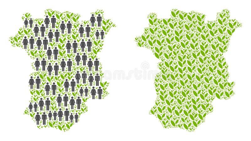 Demográficos e mapa de Chechnya do ambiente ilustração stock