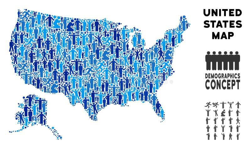 Demográficos EUA com mapa de Alaska ilustração do vetor