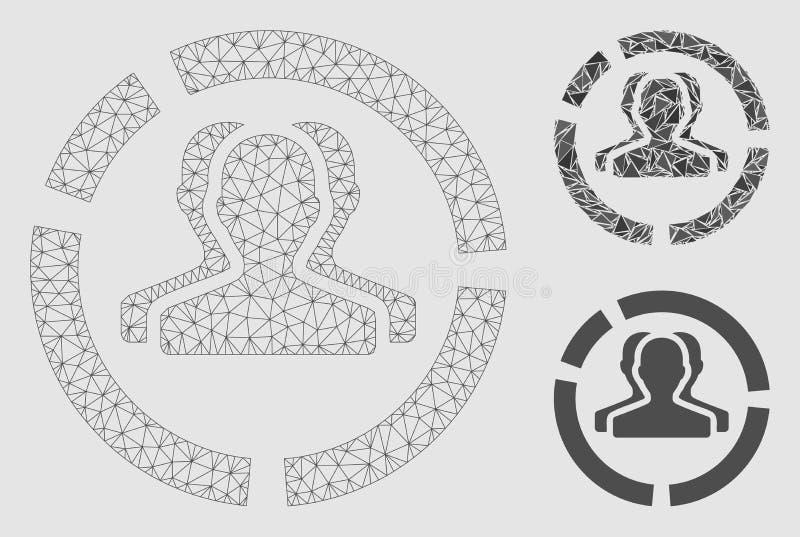 Demografia diagrama siatki sieci trójboka i modela mozaiki Wektorowa ikona ilustracji
