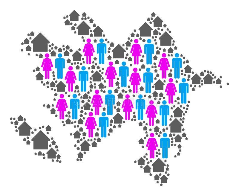 Demografii Azerbejdżan mapa ilustracja wektor