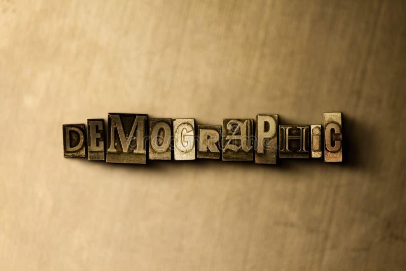 DEMOGRAFISCH - close-up van grungy wijnoogst gezet woord op metaalachtergrond royalty-vrije illustratie