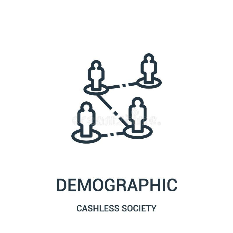 demografisk symbolsvektor från cashless samhällesamling Tunn linje demografisk illustration för översiktssymbolsvektor royaltyfri illustrationer