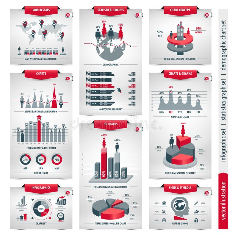 Demographic charts and graphs royalty free illustration