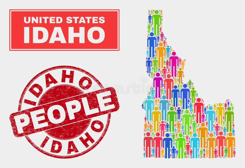 Idaho State Map Population People and Corroded Seal. Demographic Idaho State map illustration. People colorful mosaic Idaho State map of men, and red rounded stock illustration