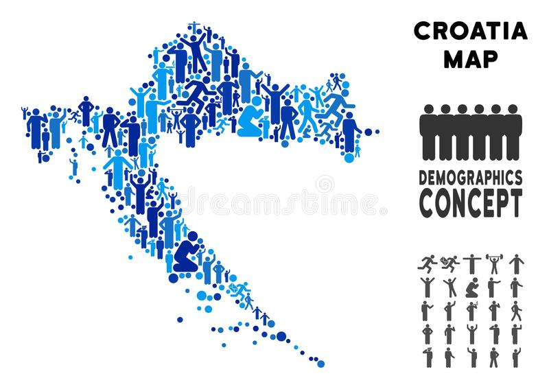 Demographics Croatia Map. Vector population Croatia map. Demography mosaic of Croatia map created of people with variable poses. Demographic map in blue tints royalty free illustration