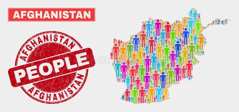 Demographics de la población del mapa de Afganistán y sello sucio stock de ilustración