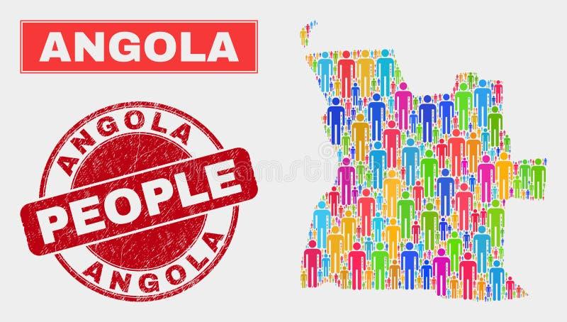 Demographics de la población del mapa de Angola y sello rasguñado del sello ilustración del vector