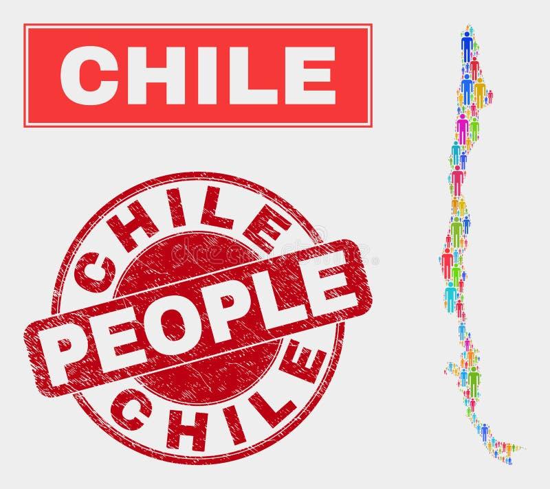 Demographics de la población del mapa de Chile y sello sucio del sello libre illustration