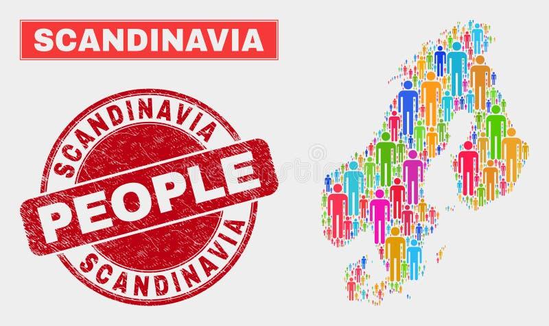 Demographics de la población del mapa de Escandinavia y filigrana de goma stock de ilustración