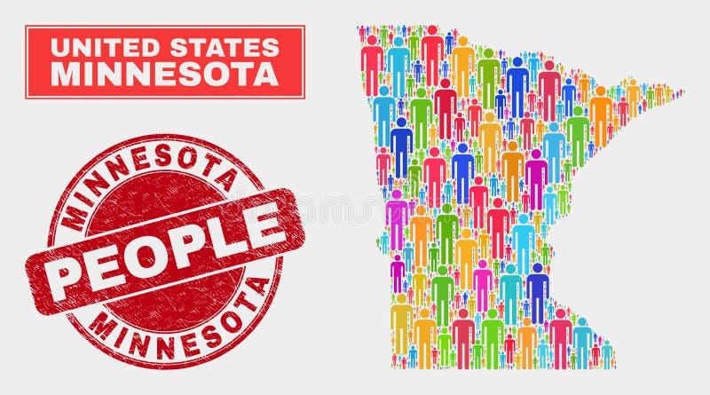 Demographics de la población del mapa del estado de Minnesota y sello texturizado ilustración del vector