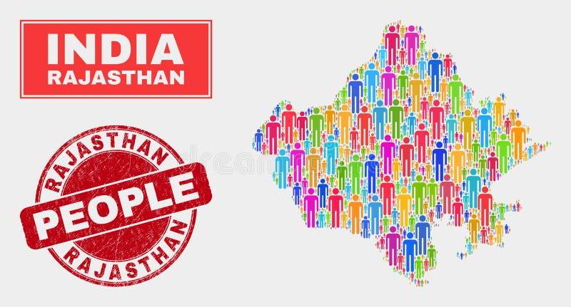 Demographics de la población del mapa del estado de Rajasthán y sello sucio ilustración del vector