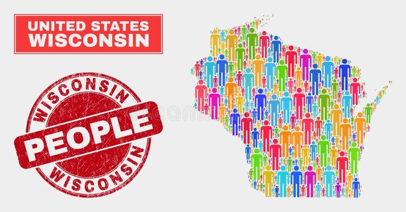Demographics de la población del mapa del estado de Wisconsin y sello texturizado del sello libre illustration
