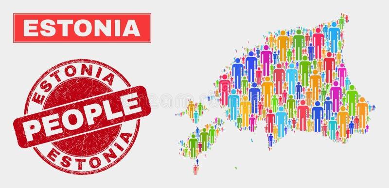 Demographics de la población del mapa de Estonia y sello del Grunge libre illustration