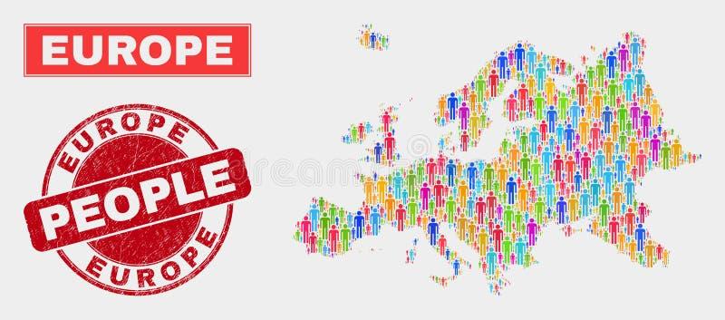 Demographics de la población del mapa de Europa y sello rasguñado del sello ilustración del vector