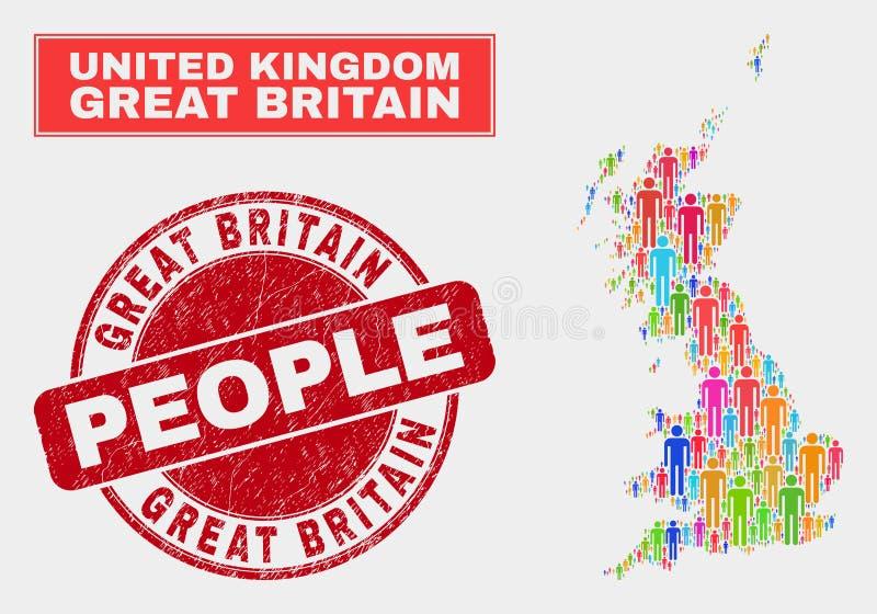 Demographics de la población del mapa de Gran Bretaña y sello corroído libre illustration