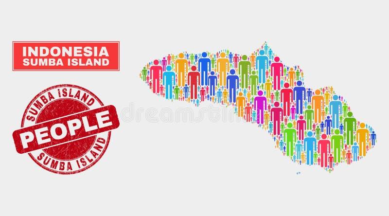 Demographics de la población del mapa de la isla de Sumba y sello sucio ilustración del vector