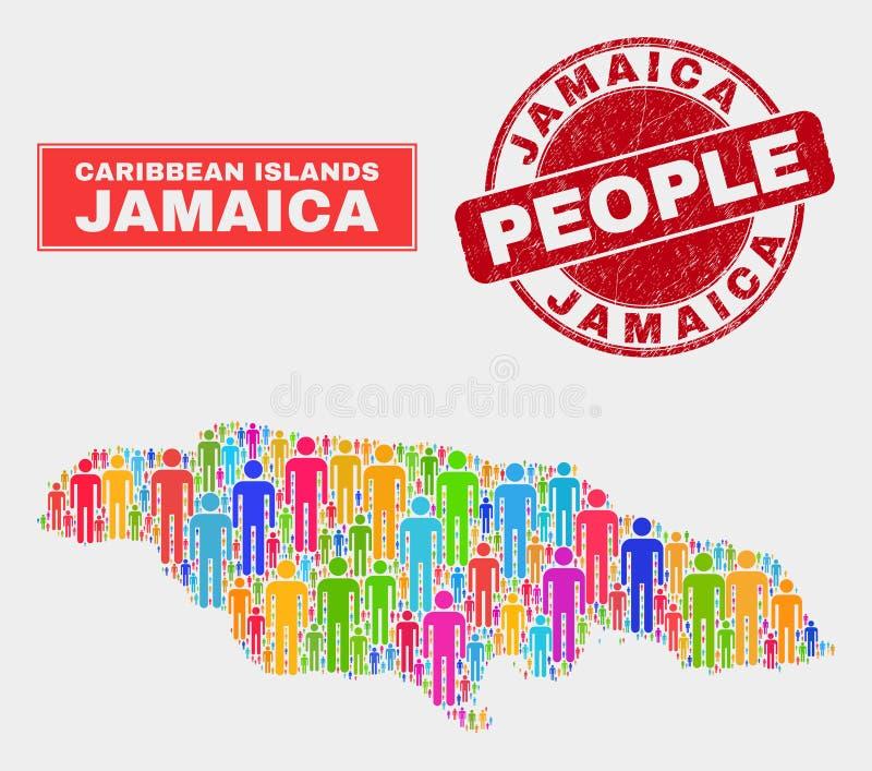 Demographics de la población del mapa de Jamaica y sello sucio del sello libre illustration