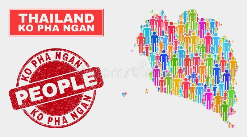 Demographics de la población del mapa de Ko Pha Ngan y filigrana sucia libre illustration