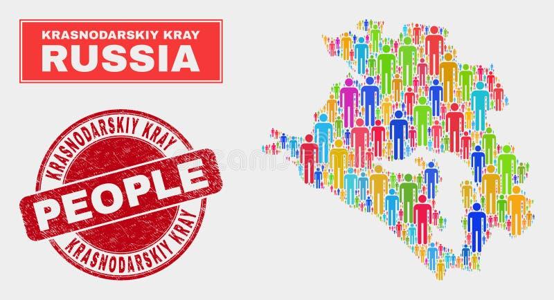 Demographics de la población del mapa de Krasnodarskiy Kray y sello texturizado ilustración del vector