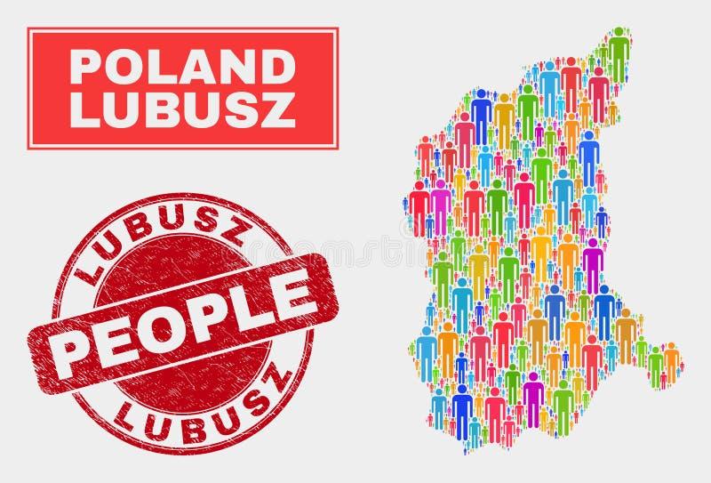 Demographics de la población del mapa de Lubusz Voivodeship y sello corroído libre illustration