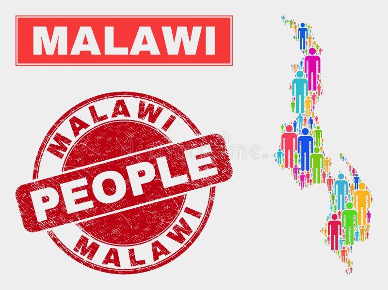 Demographics de la población del mapa de Malawi y sello sucio ilustración del vector