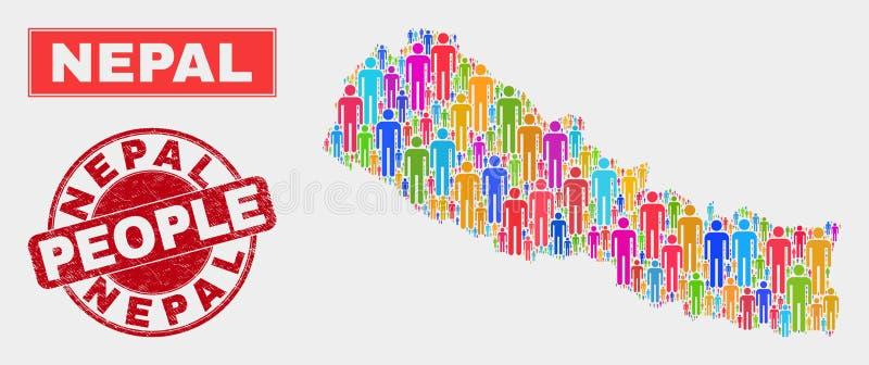 Demographics de la población del mapa de Nepal y filigrana corroída stock de ilustración