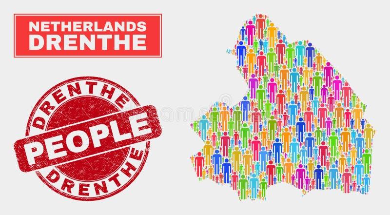 Demographics de la población del mapa de la provincia de Drente y sello sucio libre illustration