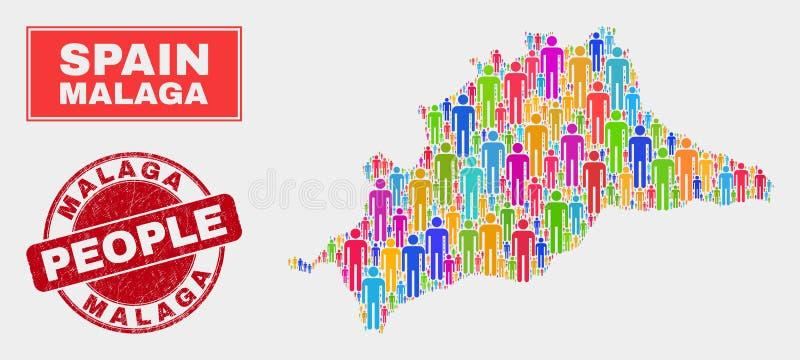 Demographics de la población del mapa de la provincia de Málaga y sello del Grunge libre illustration