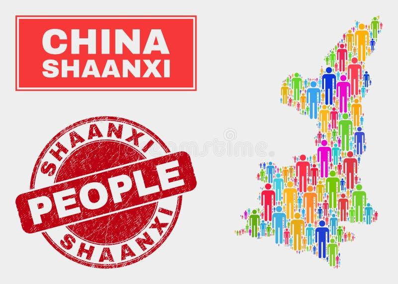 Demographics de la población del mapa de la provincia de Shaanxi y sello sucio libre illustration
