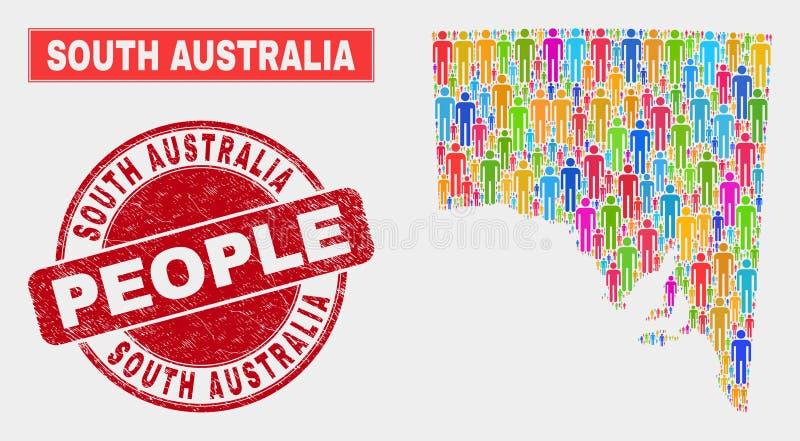 Demographics de la población del mapa del sur de Australia y sello texturizado libre illustration