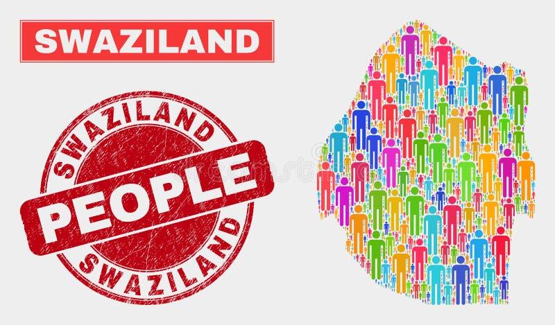 Demographics de la población del mapa de Swazilandia y sello sucio stock de ilustración