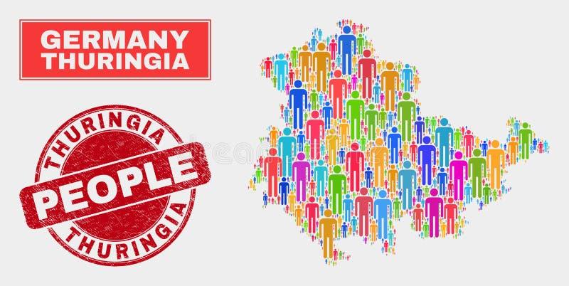 Demographics de la población del mapa de la tierra del Thuringia y sello del Grunge stock de ilustración
