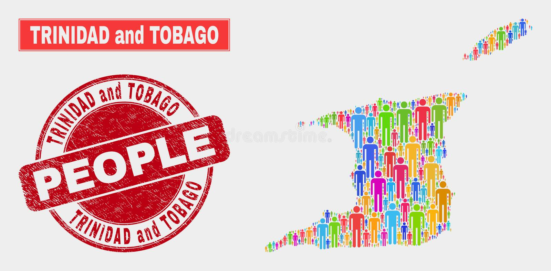 Demographics de la población del mapa de Trinidad and Tobago y filigrana corroída stock de ilustración