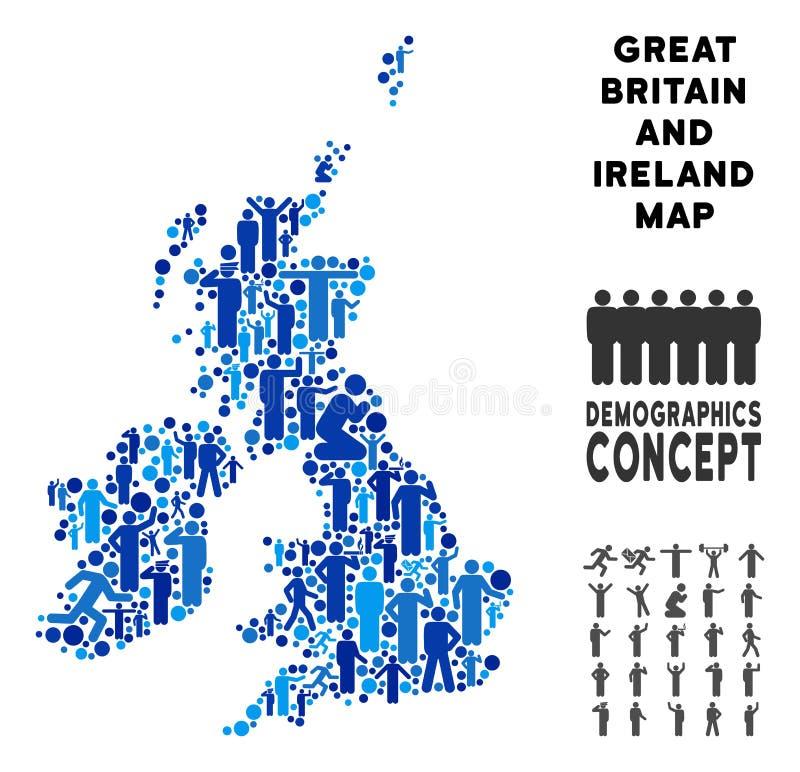 Demographics Gran Bretaña y mapa de Irlanda ilustración del vector