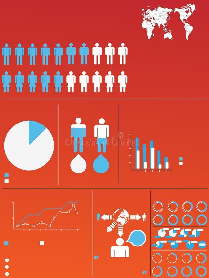 Demographisches Elementdiagramm und -graphik Infographic lizenzfreie abbildung