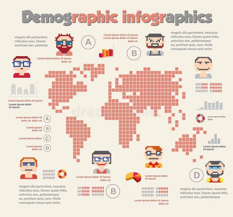 Demographisches infographic mit Leuten stock abbildung