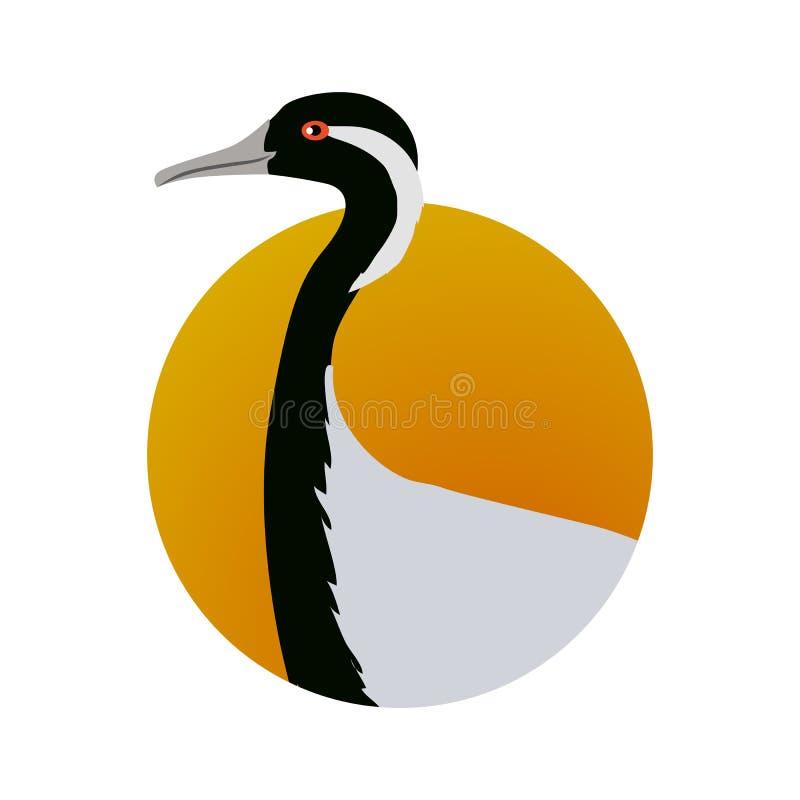 Demoiselle Crane Flat Design Vector Illustration. Demoiselle crane vector. Water birds wildlife concept in flat style design. Eurasia fauna illustration for stock illustration